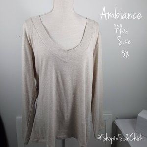 📌4/$20 Ambiance V-Neck Sweater Plus Size 3X Cream